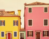 "Pastel Nursery Art, Cute Pink and Yellow Houses, Burano Italy Photography, Pastel Wall Art Print, 8x8 Nursery Decor ""C'mon Get Happy"""