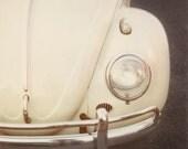 "Classic Car Photography, Volkswagon Bug, Vintage VW Beetle, Retro Boys Room Decor, Polaroid Print, Beige, 8x8 Art Print, ""Bug"""