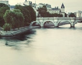 "Pont Neuf, Paris Photograph, Seine River, Romantic Travel Photography, Blue, 8x8, ""Early One Morning"""