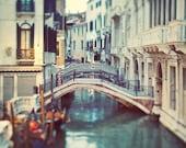 Venice Photography, Venice Canal, Italy, Water, City, Bridge, Italian Wall Decor - Blue Venice