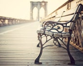 "NYC Photography, Large Wall Art, New York Art Print, Brooklyn Bridge Photograph, Neutral Travel Wall Art ""The Last Time I Saw You"""
