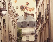 Large Paris Print, Beige Wall Decor, Large Wall Art, Oversized Art, Ballooning Over Paris Photography, Home Decor - Paris is a Feeling