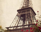 "Eiffel Tower with Red Flowers, Paris Photography, French Decor, Neutral Colors, Spring, Romantic Art, ""The Iron Lady With Flowers"""