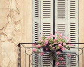 "Rustic Window, French Country Decor, Provence Photograph, Shabby Chic Wall Art, Peach French Decor, Fine Art Print ""Window Treatment"""