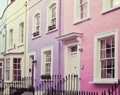 London Print - Chelsea Girls - Travel Photography, Pastel Houses, Spring, Pink, Purple, Home Decor, Street, Travel Photography - EyePoetryPhotography