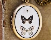 Photo Locket - Paper Kites - Butterflies, Black, Brown, White, Nature, Neutral - Oval Art Locket Grande Edition