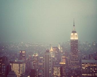 Manhattan - NYC Skyline, Mad Men, New York Photograph, Empire State Building at Night, Green Art, Fine Art Print, Fog, 8x8, 12x12