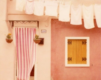 Cute Pink House, Burano, Italy Photography, Pastel Wall Decor, Home Decor, Pink Art, Polaroid Photograph, 8x8 - Laundry Day