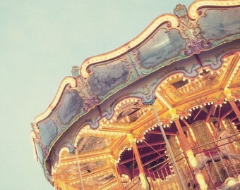 "Carnival Photography, Merry Go Round, Pastel Art, Nursery Decor, Kids Wall Art, Carousel Photo, Summer Decor,  8x8 ""Ticket to Ride"""