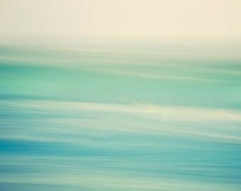 Abstract Ocean Photography, Colorful Modern Beach Decor, Green Blue Ocean Print, Bathroom Art, Waves 8x8 Beach Photography - Swish 2