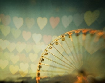"""Valentines Day Decor Ferris Wheel Carnival Photography, Valentine Print, Romantic Home Decor, Heart Print """"Love is in the Air"""""""