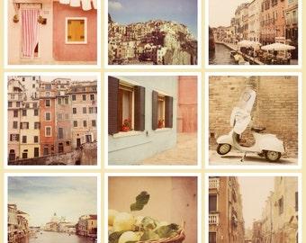 """SALE Set of Nine 5x5 or 8x8 Italy Photos, Travel Photography, Italy Art Prints, Vintage Polaroid Photographs """"Polaroidissimo"""""""