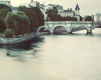 """Pont Neuf, Paris Photograph, Seine River, Romantic Travel Photography, Blue, 8x8, """"Early One Morning"""""""