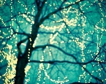 Fairy Lights, Tree Art, Turquoise Blue Art, Winter Photography, Bare Branches, Fine Art Print, Blue Wall Decor, Christmas - Twinkle