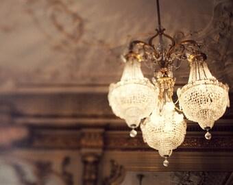 Paris Chandelier Photography, Glamorous Art, Paris Decor, Gold Decor, Romantic Wall Art Autumn Colors, Feminine Art  - The Golden Age