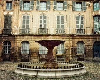"""Provence Photograph, French Country Decor, Aix-en-Provence Fountain, French Home Decor, Rustic Wall Decor """"La Fontaine"""""""