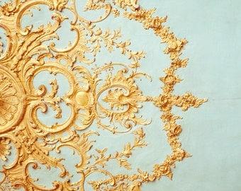 """Paris Architectural Detail, French Decor, Paris Decor, Versailles Ceiling, Romantic Art, Robins Egg Blue Home Decor, 8x8 - """"Folie"""""""
