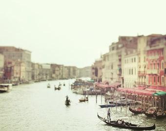 Italy Art, Venice Photography, Grand Canal Gondolas, Dreamy Romantic Travel Photography, Pastel Mint Green, Venice Italy 8x8