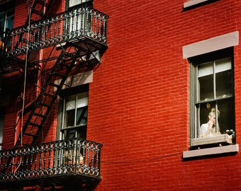 The Lady in Red - NYC Photography, Greenwich Village Apartment, Woman in Window, Black and Red Art, New York City, Brick