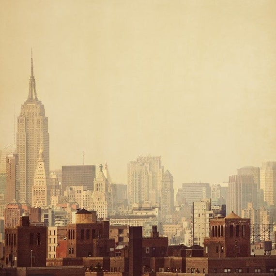 New York City Photograph, Empire State Building, Travel Photography, Orange, Brown, Autumn Colors, 8x8 - Urban legends