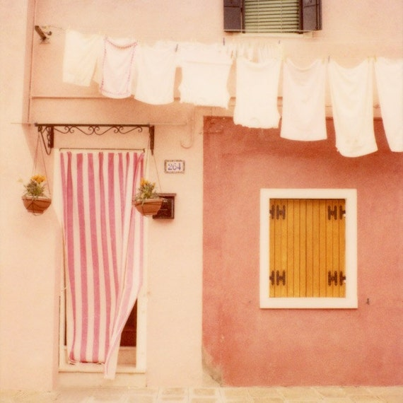 Cute Pink House, Burano, Italy Photography, Pastel Wall Decor, Home Decor, Pink Art, Polaroid Photograph, 8x8 - Laundry Day