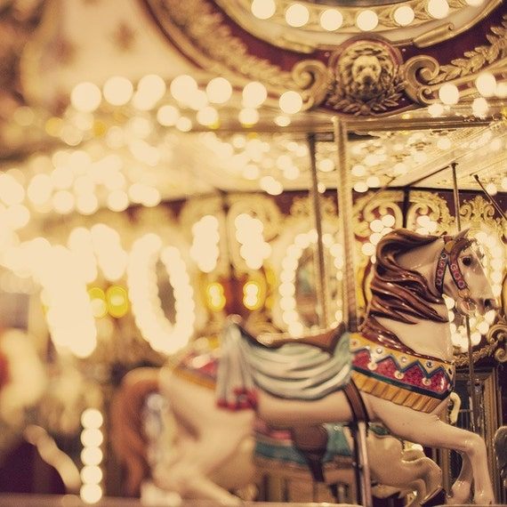 """Merry-Go-Round Print, Nursery Art, Pastel Yellow, Summer Carnival Photo, Childs Room Decor, Circus Art, """"If  Wishes Were Horses"""""""