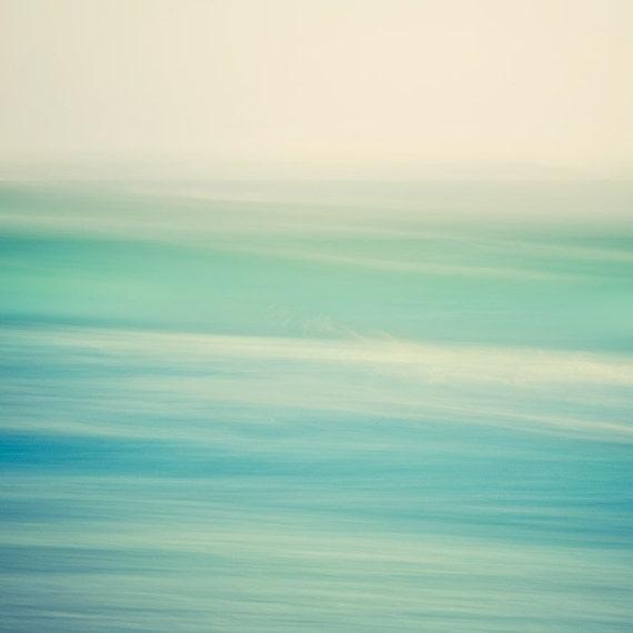Abstract Ocean Photography, Modern Beach Decor, Ombre Green Blue Ocean Print, Bathroom Art, Waves 8x8 Beach Photography - Swish 2
