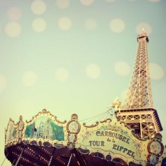 "Paris Photography, Carousel Wall Art Print, Fine Art Print, Eiffel Tower Paris Photo, Pastel Blue French Wall Decor ""Carrousel"""