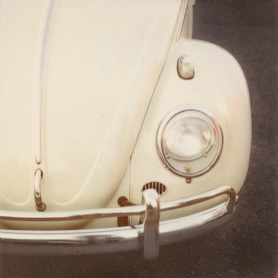 "Classic Car Photography, Volkswagon Bug, Vintage VW Beetle, Retro Boys Room Decor, Polaroid Print, Beige, 8x8 Art Print, ""Bug"""