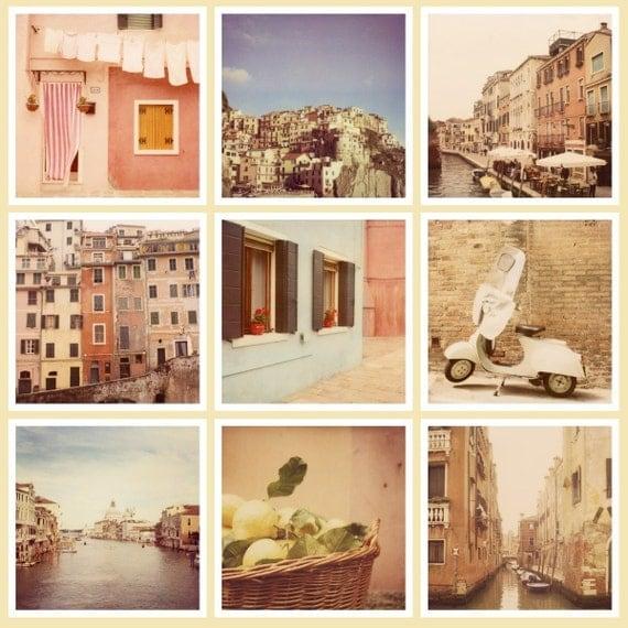 SALE Set of Nine Italy Photos, Travel Photography, Italy Art Prints, Fine Art Prints, Vintage Polaroid Photographs - Polaroidissimo