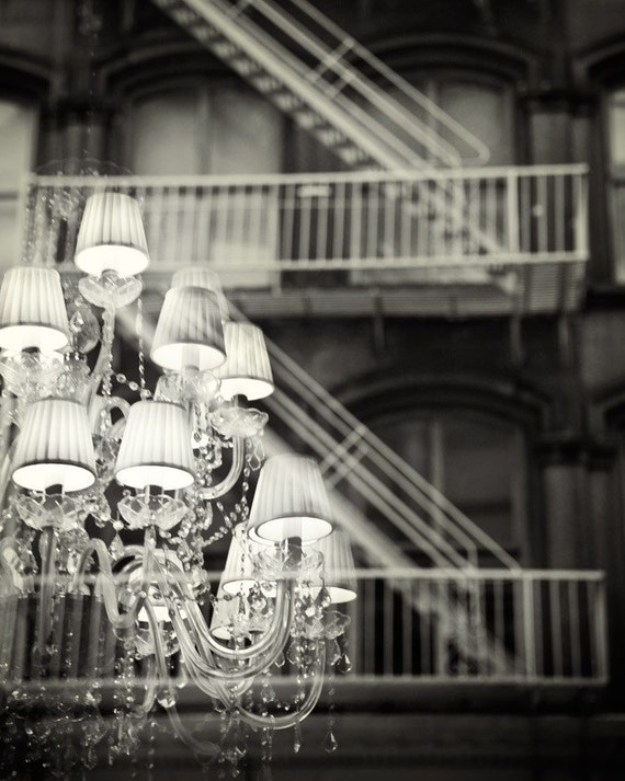"Chandelier Print, New York Photography, Black and White, Chic Home Decor, NYC Fine Art Print, Soho, Bedroom Decor ""An Urban Romance"""