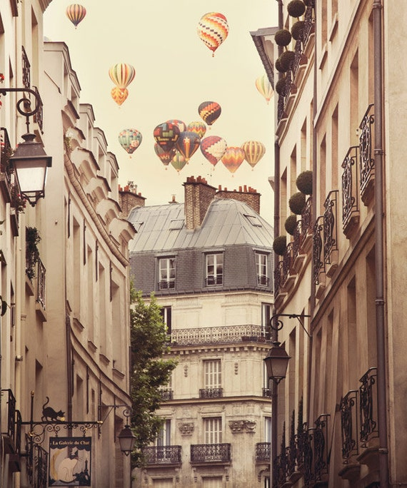 Paris Decor, Paris Photography, 20x24 Fine Art Print, Hot Air Balloons Photograph, Beige, Wall Art, Neutral Colors - Paris is a Feeling
