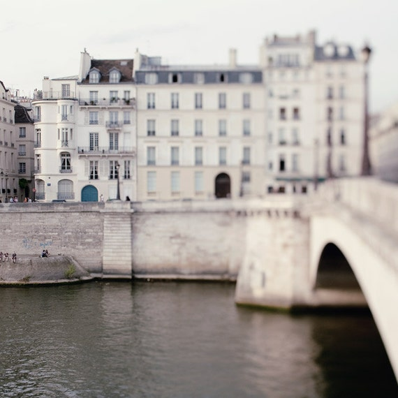50% OFF SALE - Bridge, Paris Photograph - Things to do in Paris - Seine River, White, Grey, Dreamy, Whimsical Travel Photography
