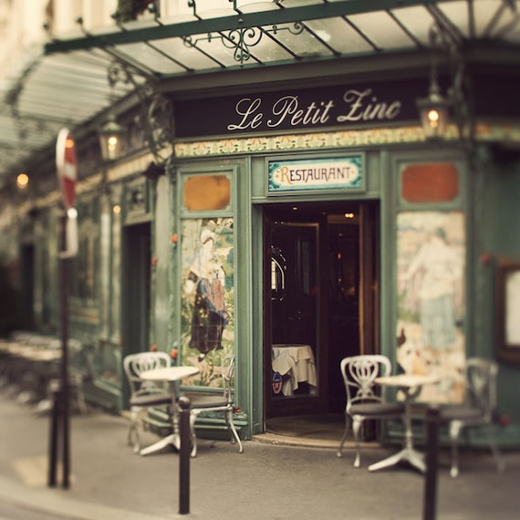 Le Petit Zinc - Paris Photography, Cafe, St Germain Des Pres, Paris Print, Bistro Chairs, Art Nouveau, Green, Restaurant, 8x8
