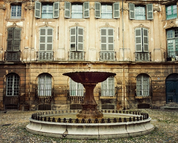 "Provence Photograph, French Country Decor, Aix-en-Provence Fountain, French Home Decor, Rustic Wall Decor ""La Fontaine"""