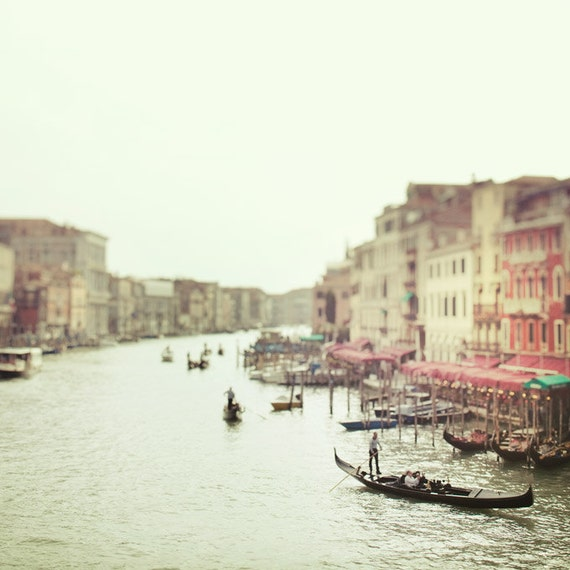 Italy Art, Venice Photography, Grand Canal Gondolas, Dreamy Romantic Travel Photography, Pastel Mint Green, Venice Italy 8x8