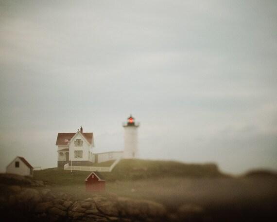 Lighthouse Blues - Nautical Photograph, Dreamy Summer Landscape, Maine Coast, Sea, Ocean, Fog, Mist