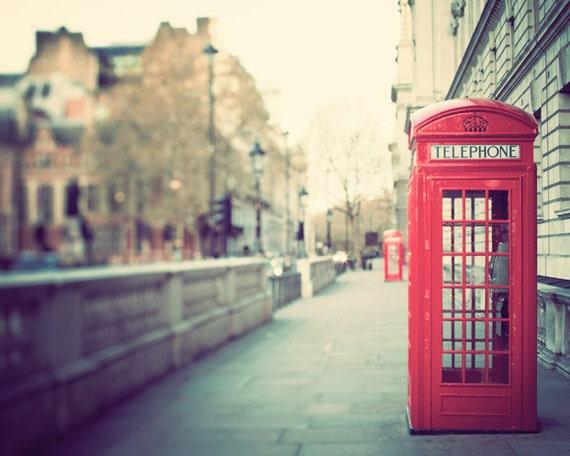 Red Phone Box, London Print, London Photography, England, Urban Wall Art, Travel, British Wall Decor - Hanging on the Telephone