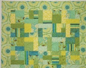 Lemon, Lime, and Tourquoise Twin or Lap Quilt