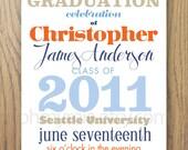 Typography Graduation Announcement Digital File