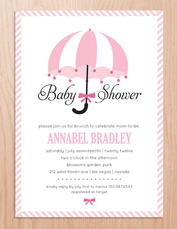 Items Similar To Baby Shower Invitation Umbrella