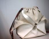 Origami Drawstring Bag Japanese Style Linen Bag