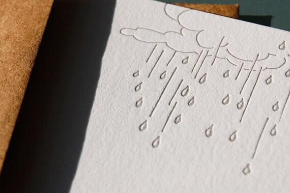 SALE - April showers, letterpress notecards, set of 6