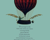 3 postcards - hot air balloon and poem - vintage inspired