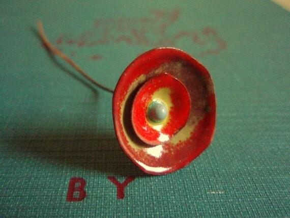 Enameled bud pendant