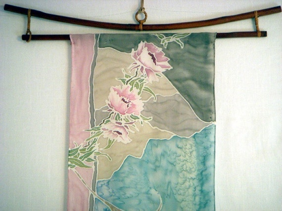 Pastel Silk Scarf or Wall Hanging