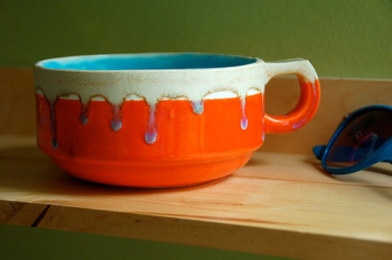 Orange and Turquoise Ceramic Cup