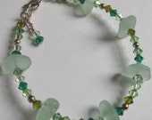 Sea Foam Green Sea Glass Crystal Bracelet by Lake Erie Beach Glass LEbg