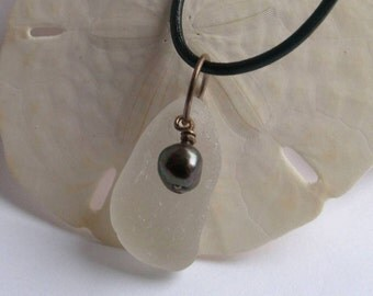 WHITE PURITY Sea Glass Fresh Water Black Pearl Charm Necklace by Lake Erie Beach Glass LEbg