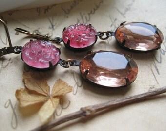 pale pink earrings, pink wedding earrings, vintage french earrings, pink satement earrings, downton abbey jewelry, art nouveau jewelryp
